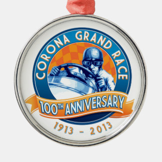 Corona Road Races 100th Anniversary Silver-Colored Round Decoration