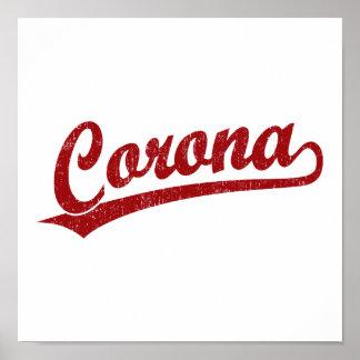 Corona script logo in red poster