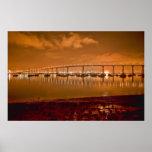Coronado Bay Bridge At Night Poster