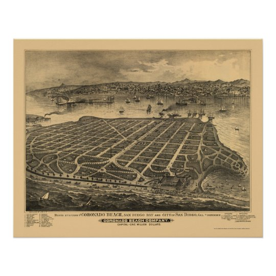 Coronado Beach, CA Panoramic Map - 1880s Poster