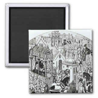 Coronation of Charlemagne in City of Jerusalem Square Magnet
