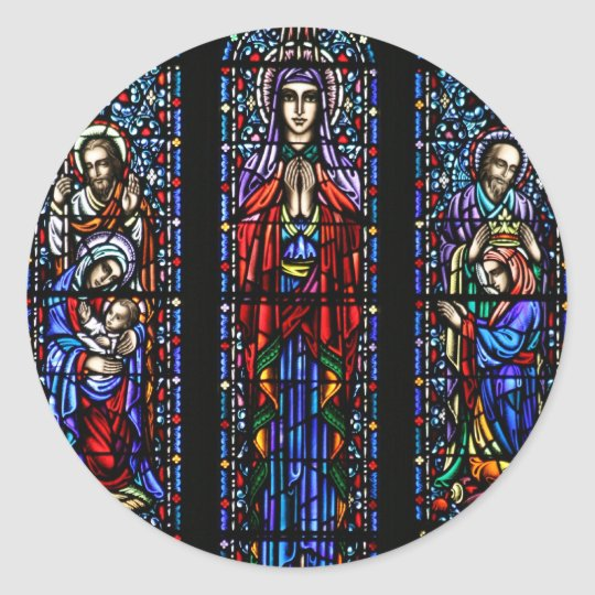 Coronation of Mary Stained Glass Art Classic Round