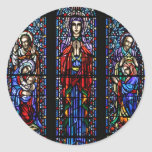 Coronation of Mary Stained Glass Art Round Sticker