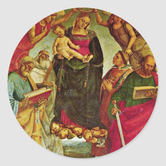 Coronation Of The Virgin By Signorelli Luca (Best Round Sticker