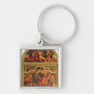 Coronation of the Virgin Silver-Colored Square Key Ring