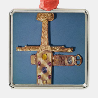 Coronation sword of the Kings of France Silver-Colored Square Decoration