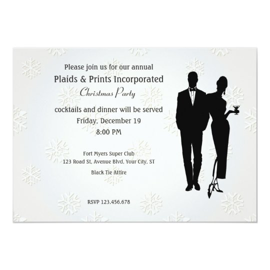 Corporate Christmas Party Black Tie Card
