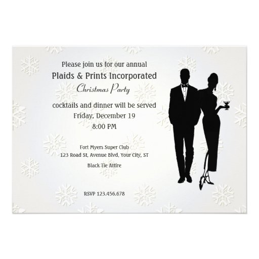 Corporate Christmas Party Black Tie Personalized Invite