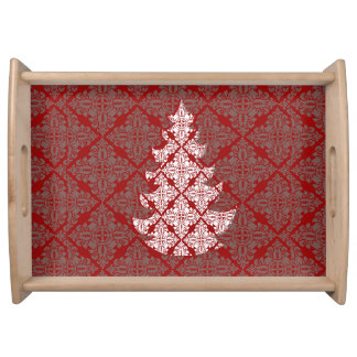 Corporate Classic Red Damask Christmas Tree Serving Tray