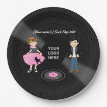 Corporate/Club/College/School Sock Hop Retro Party Paper Plate