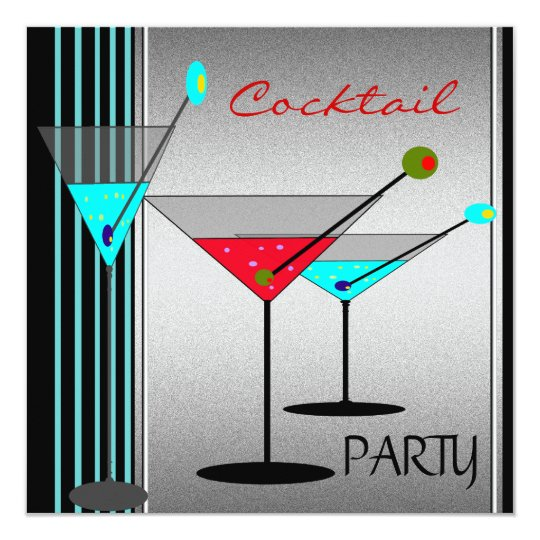 Corporate Cocktail Party Drinks Martini Blue Red Card