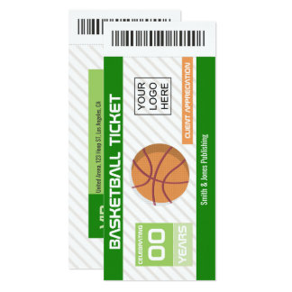 Corporate Company Function Basketball Event Ticket Card