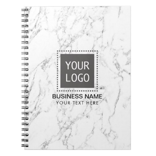 Corporate Custom Logo Elegant White Marble Notebooks
