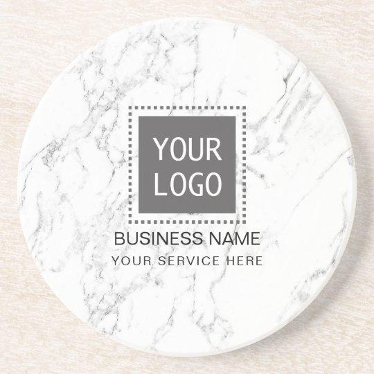 Corporate Custom Logo Modern White Marble Coaster