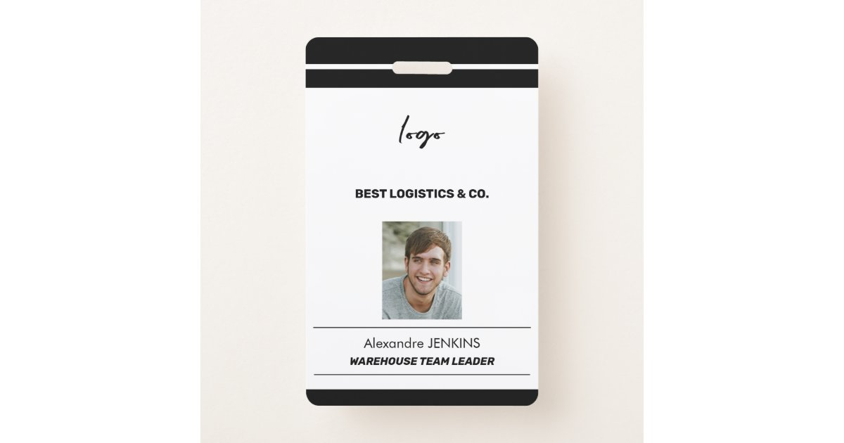 Corporate employee photo name bare code template ID badge ...