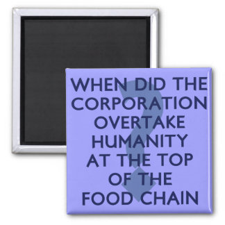 Corporate Food Chain Square Magnet