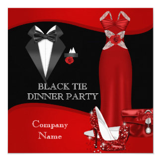 Corporate Formal Dinner Party Black Tie Red 3 Card