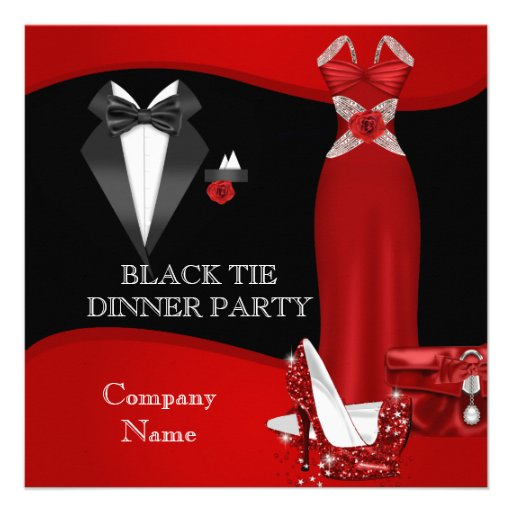 Corporate Formal Dinner Party Black Tie Red 3 Invites