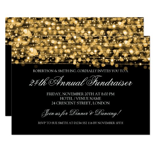 Corporate Fundraiser Gala Party Sparkles Gold Card