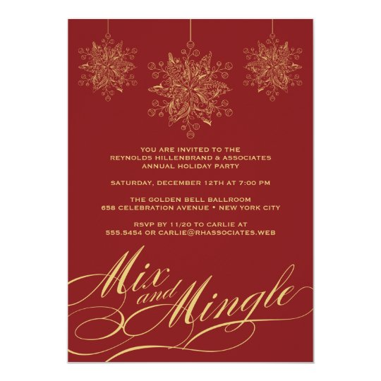 Corporate Holiday Party - Mix & Mingle Ornaments Card