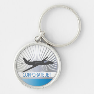Corporate Jet Aircraft Silver-Colored Round Key Ring