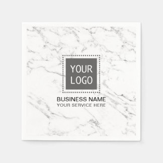 Corporate Logo Modern White Marble Business Office Disposable Serviette