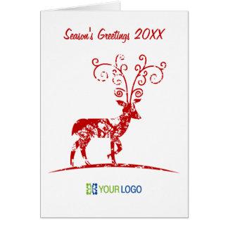 Corporate Logo Red Reindeer Christmas Card
