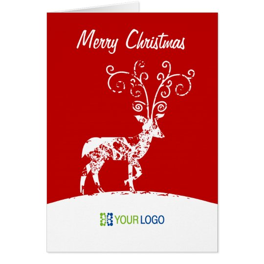 Corporate Logo Reindeer Christmas Card