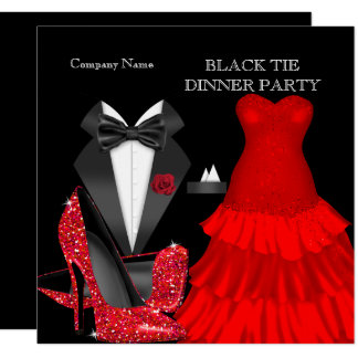 Corporate Red Black Tie Dinner Party Card