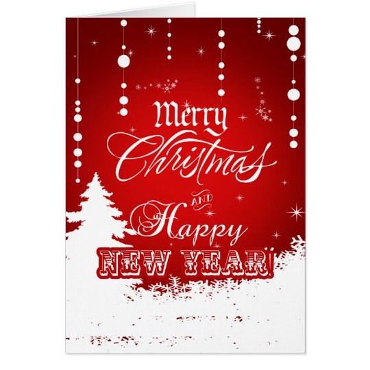 Corporate Red White Merry Christmas Happy New Year
