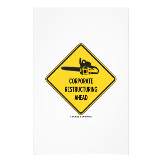 Corporate Restructuring Ahead Yellow Diamond Sign Stationery Paper