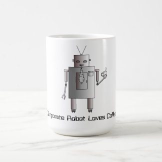 Corporate Robot Loves Coffee, Retro Vintage Robot Coffee Mug