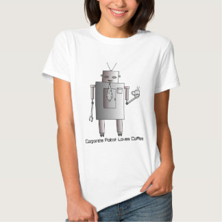 Corporate Robot Loves Coffee,Retro Vintage Robot T-shirt