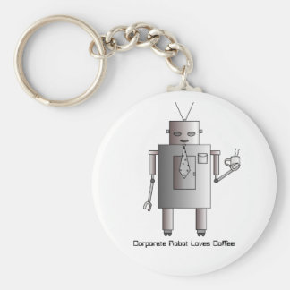 Corporate Robot Loves Coffee, Vintage Retro Funny Basic Round Button Key Ring