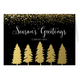 Corporate Season's Greetings Faux Gold Trees Card