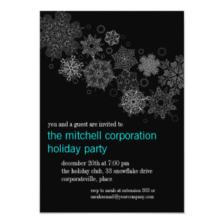 Corporate Snowflake Ebony Holiday Party Card