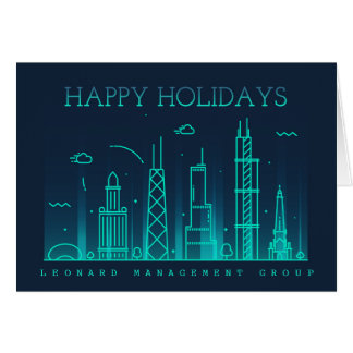 Corporate Style Chicago Skyline Holiday Card