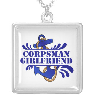 Corpsman Girlfriend, Anchors Away! Square Pendant Necklace