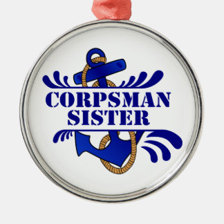 """Corpsman Sister, Anchors Away!"""" Silver-Colored Round Decoration"""