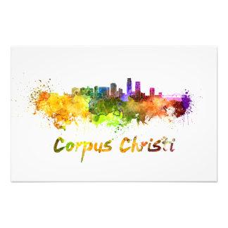 Corpus Christi skyline in watercolor Photograph