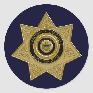 Correctional Officer Gold Badge Stickers