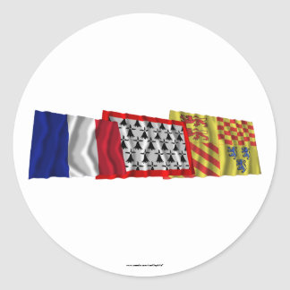 Corrèze, Limousin & France flags Round Stickers