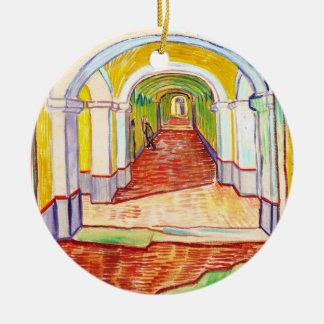Corridor in Saint-Paul Hospital Vincent van Gogh Double-Sided Ceramic Round Christmas Ornament