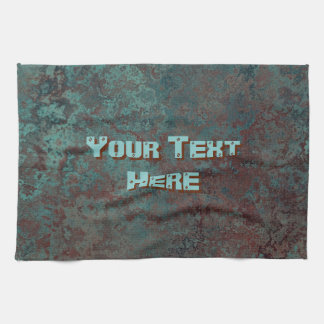 "Corrosion ""Copper"" print Text kitchen towel"