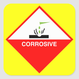 Corrosive Warning Sign - Dangerous Art Square Sticker