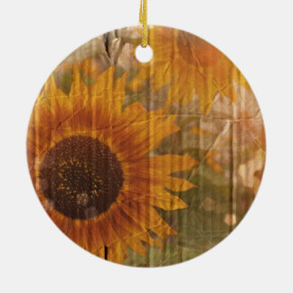 Corrugated Cardboard  bohemian yellow Sunflower Christmas Ornament