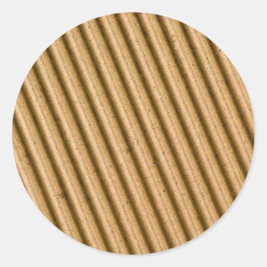 Corrugated cardboard texture classic round sticker