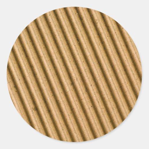 Corrugated cardboard texture round sticker