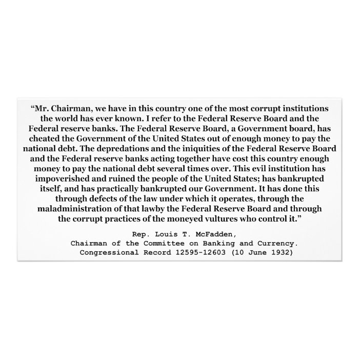 Corrupt Federal Reserve Quote by Louis T McFadden Custom Photo Card