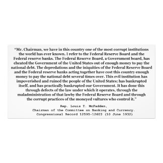Corrupt Federal Reserve Quote by Louis T McFadden Photographic Print